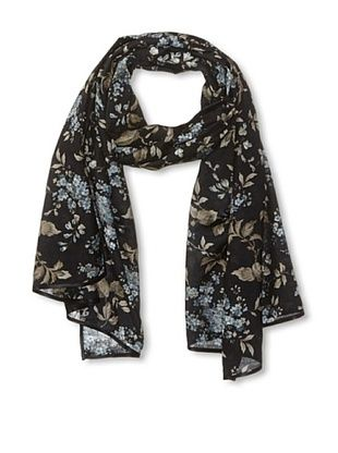56% OFF Carolina Amato Women's Ribbon-Trim Floral Scarf, Black