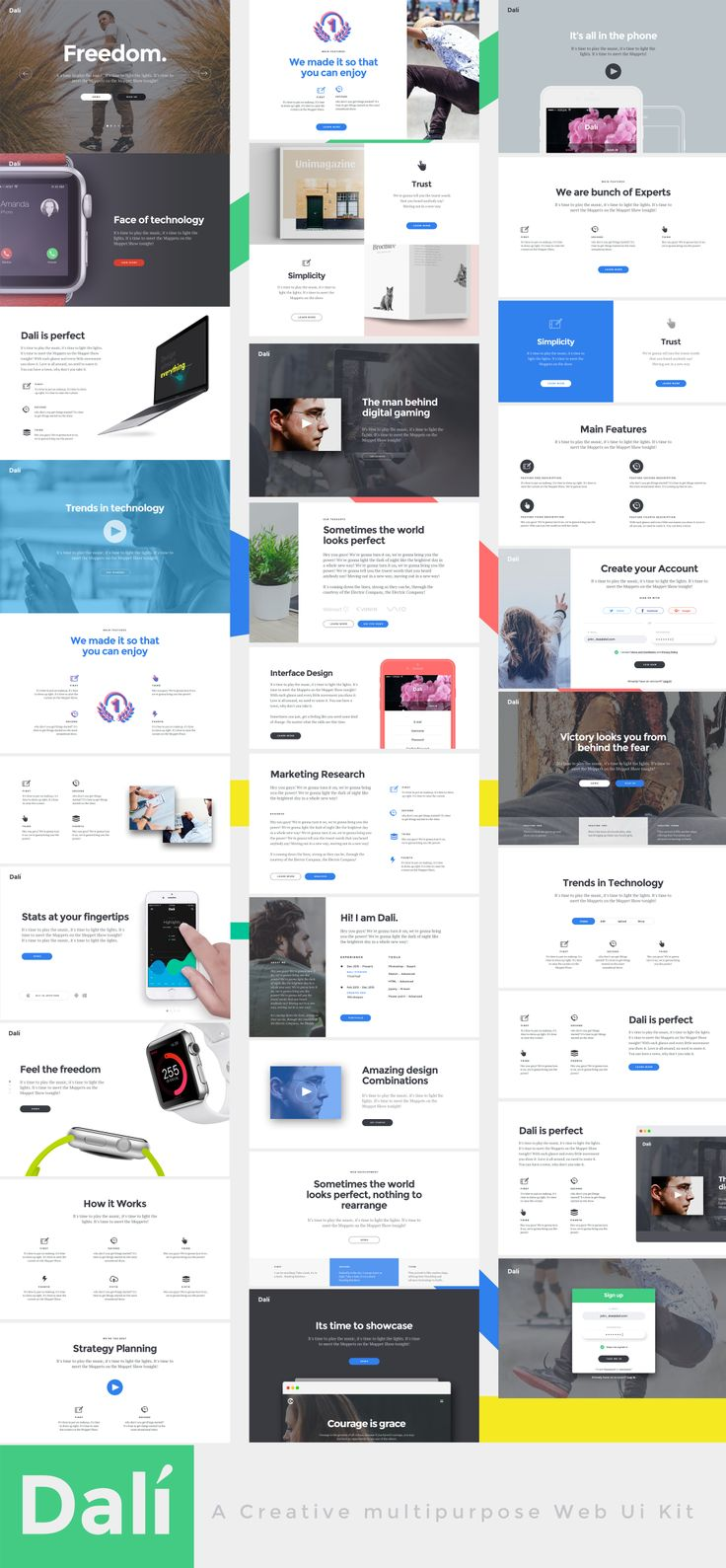 "Dali is a simple and practical UI kit consisting of a variety of premium & multipurpose web design blocks with flexible use for different categories. All components are fully compatible, editable, organized, named and grouped very professionally. All web blocks are made on standard Bootstrap grid and are retina ready. When you download and extract the kit, you will see ""Resize to Retina.atn"" Photoshop action file there, simply double click to install."