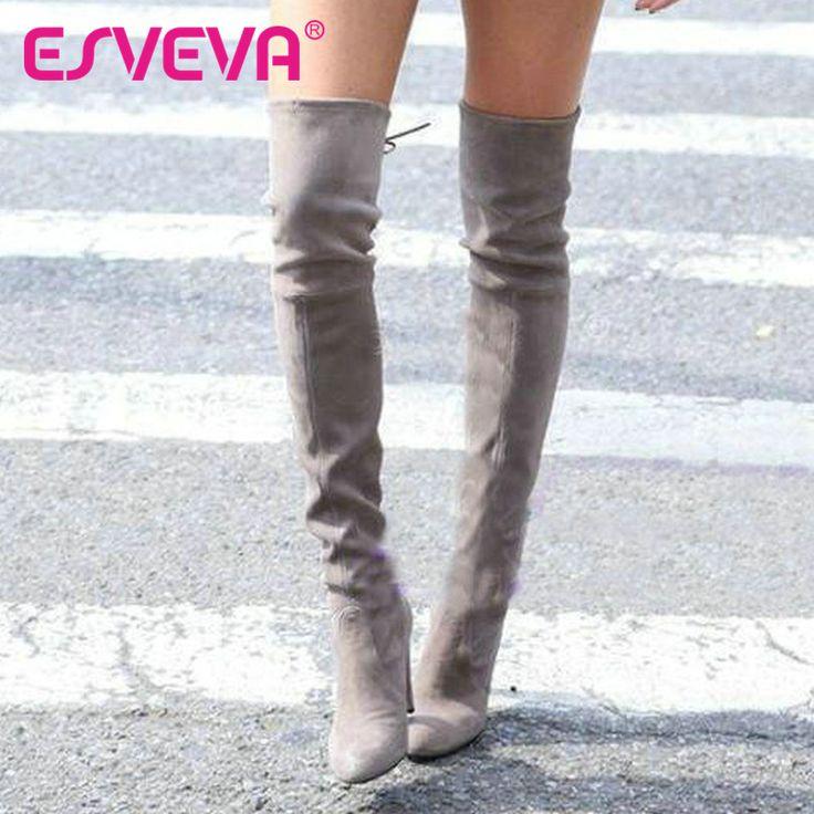 Esveva 2017 cuadrados botas de estilo occidental de primavera sobre la rodilla de alta talón de Las Mujeres Cargadores de Las Señoras Atractivas Atan Para Arriba Botas de Moda Tamaño 34-43