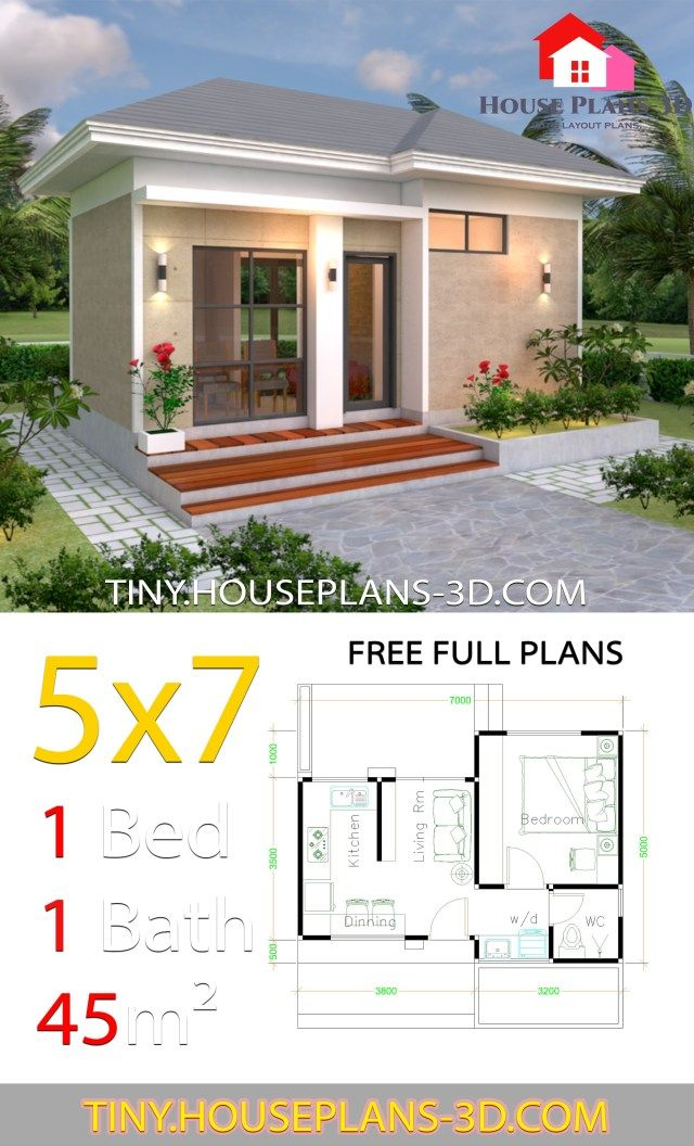 Small House Design Plans 5x7 With One Bedroom Hip Roof Tiny House Plans Small House Design Plans 1 Bedroom House Plans One Bedroom House