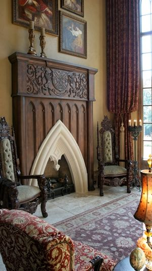 Gothic Revival fireplace & mantel, artfully crafted. I love the beautiful fireplace that has the traditional gothic chairs either side continuing the era through the room.