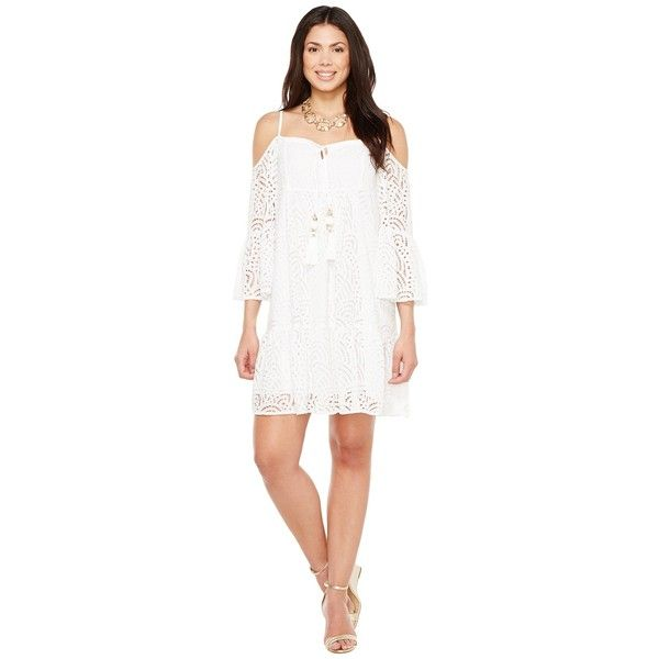 Lilly Pulitzer Alanna Dress (Resort White Marine Tropic Lace) Women's... ($198) ❤ liked on Polyvore featuring dresses, boho lace dress, cutout shoulder dresses, bohemian dresses, cold shoulder dresses and white cut out dress