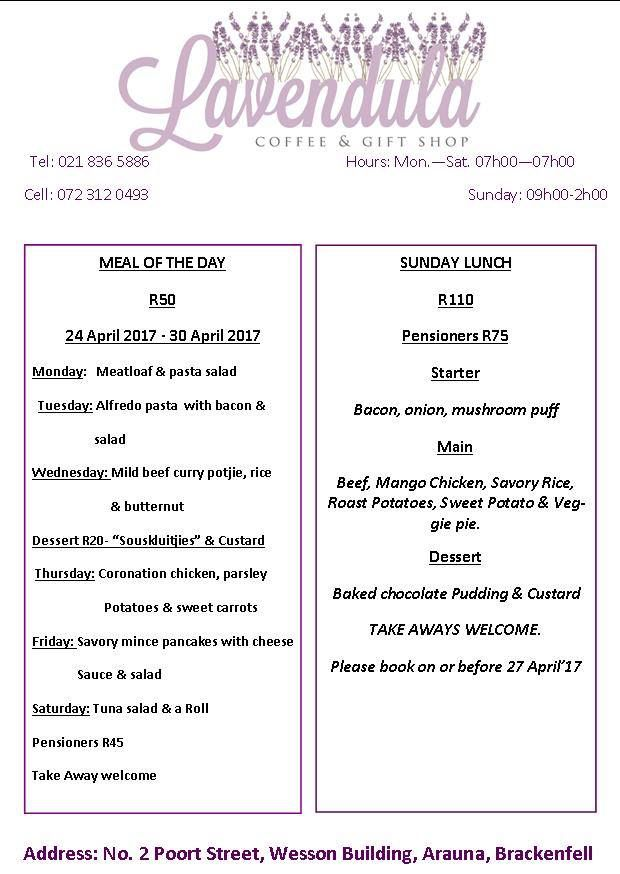 #Lavendula. This week's menu for home cooked meals. Please order yours early. 021 836 5886.