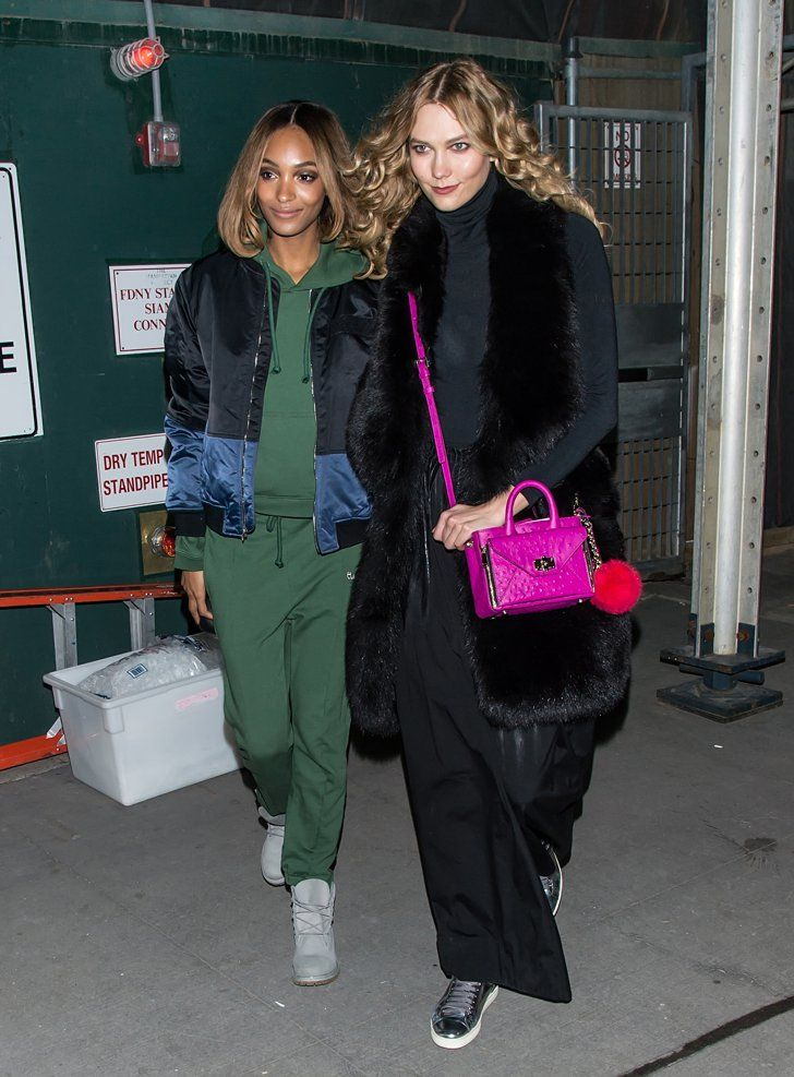 Pin for Later: Catch Up on the Best Model Street Style Moments at MFW New York Fashion Week Jourdan Dunn and Karlie Kloss wearing a DVF bag.