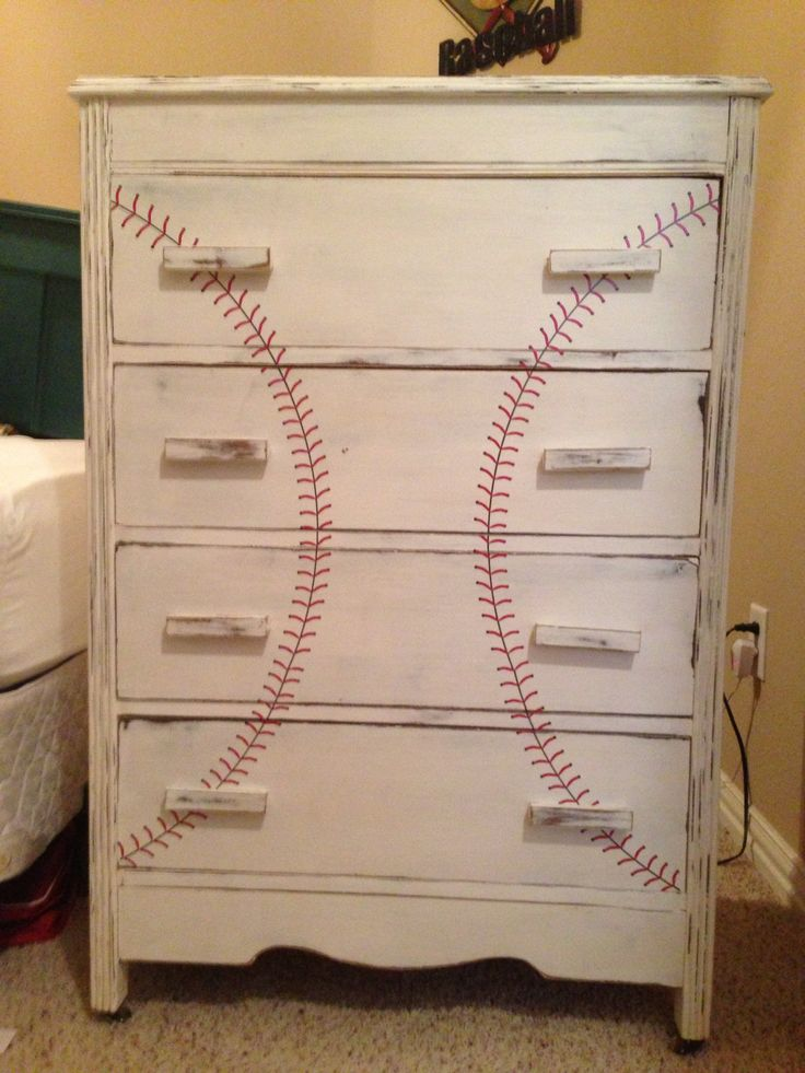 Turn an old dresser into a great piece for a boys baseball room.