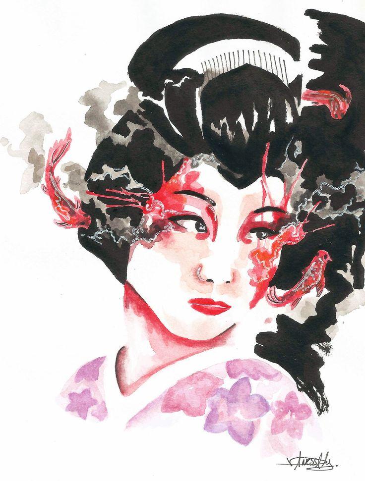 BORRADOR Geisha-diseño original tinta china y lápices acuareables 2016