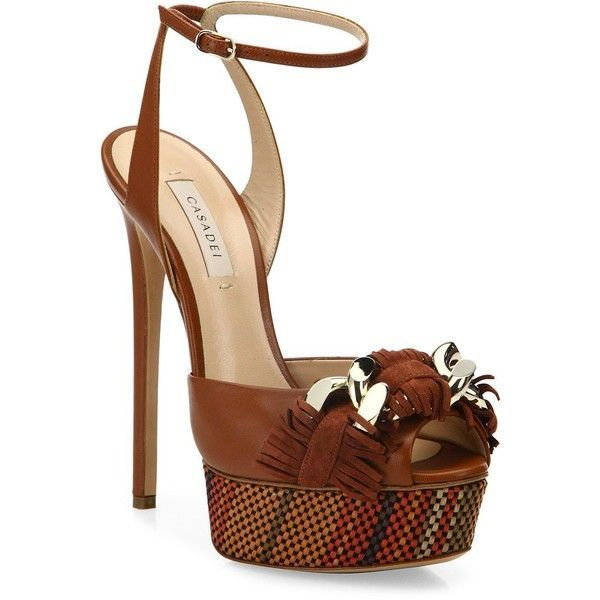 Casadei Fringe Leather Ankle-Strap Platform Sandals ($358) ❤ liked on Polyvore featuring shoes, sandals, heels, sapatos, peep toe sandals, tan platform sandals, high heeled footwear, woven leather sandals and tan leather sandals