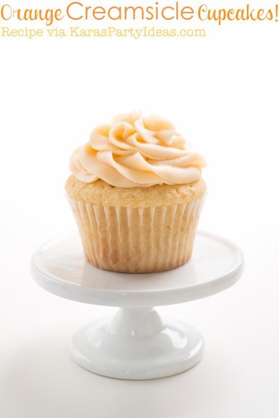 Orange Cream Creamsicle cupcake recipe that's easy and the best! Orange cream cheese frosting recipe, too! Via Kara's Party Ideas KarasPartyIdeas.com