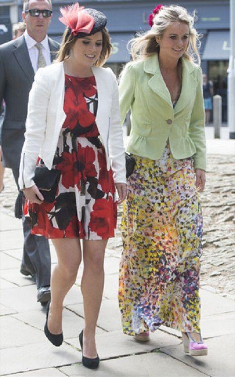 (L-R) Britain's Princess Eugenie and Cressida Bonas attends the wedding of Rupert Finch and Lady Natasha Rufus Isaacs, 08.06.13.
