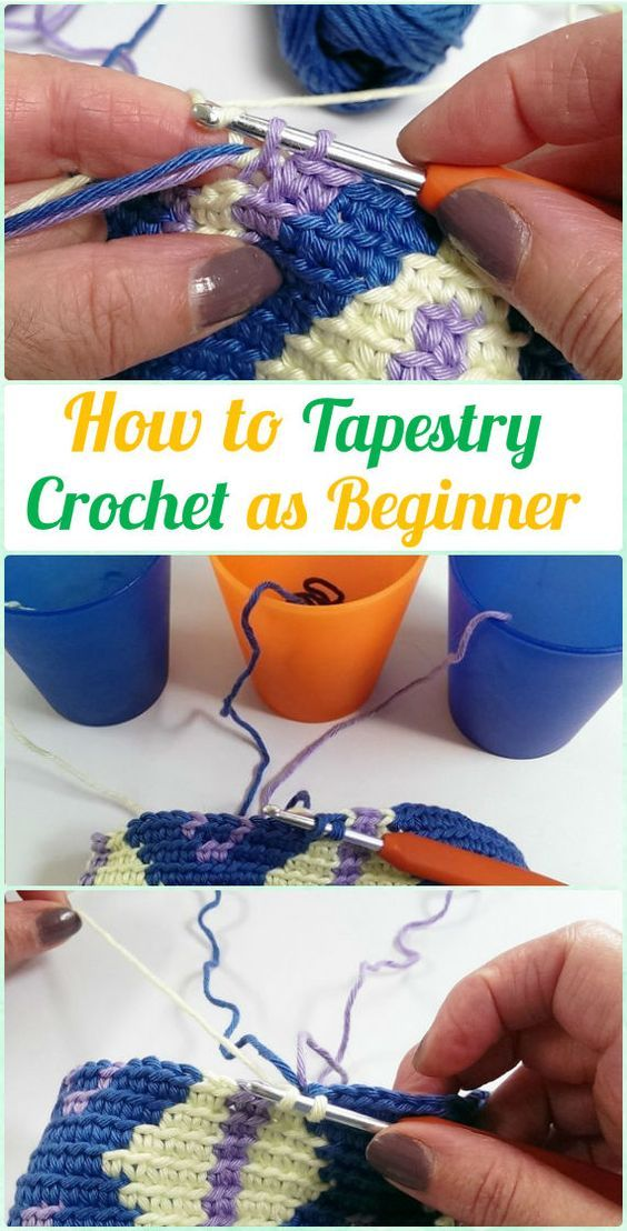 How to Tapestry Crochet as Beginner Free Pattern, Detangle Yarn, Yarn Tension Tips