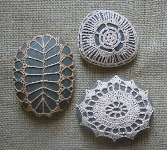 Crocheted Lace Stones.