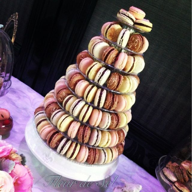 Macaron tower at a Paris themed wedding.  See more party ideas at CatchMyParty.com.  #paris #wedding