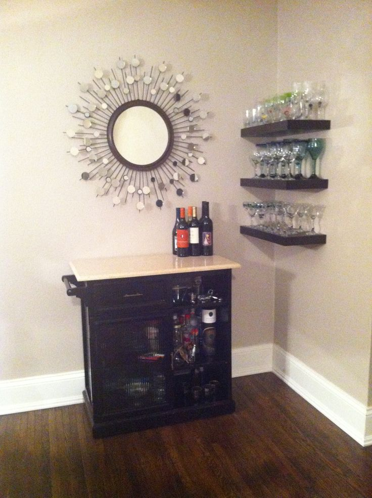 Small home bar like the corner shelves home ideas for Mini bar design for small house