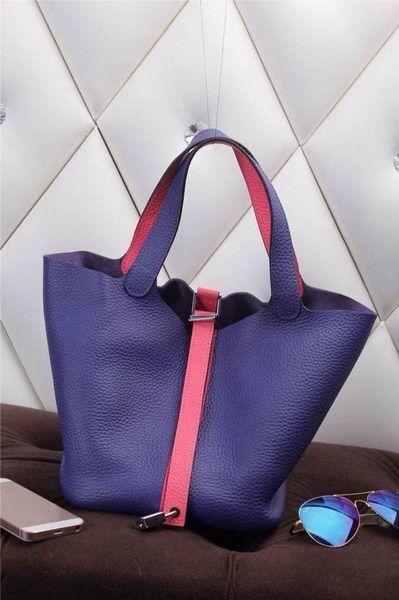 Hermes Picotin Lock MM Bag in Grainy Leather H610M Royal&Rose - $239.00