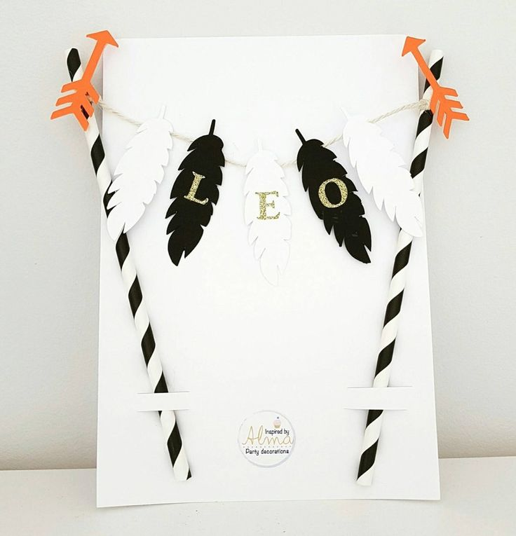 Custom cake banner. First birthday party decorations. Wild, feathers, arrows, teepee, monochrome, escandinavian. Boy or girl.