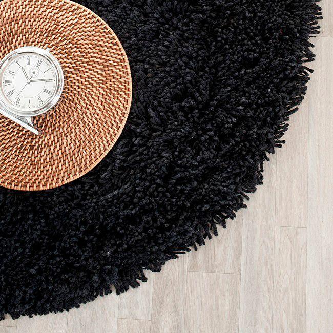 Safavieh Classic Ultra Handmade Black Shag Rug (4' Round), Size 4' x 4' (Acrylic, Solid)