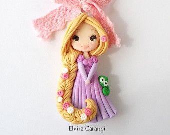 Disney princess Necklace polymer clay elsa by ElviraCarangi