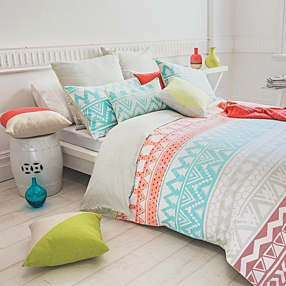 Express exuberance in your bedroom with the lively colours and patterns in the cosy cotton sateen Indiana Quilt Cover Set from Bambury.