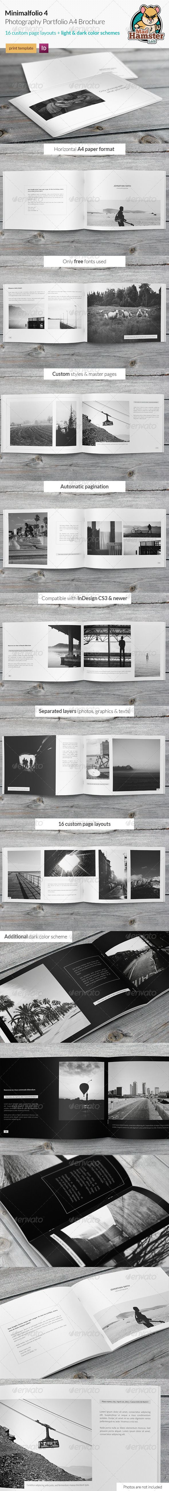 Minimalfolio 4 Photography Portfolio A4 Brochure - Portfolio Brochures