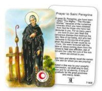 Saint Peregrine Prayer Card with Relic.