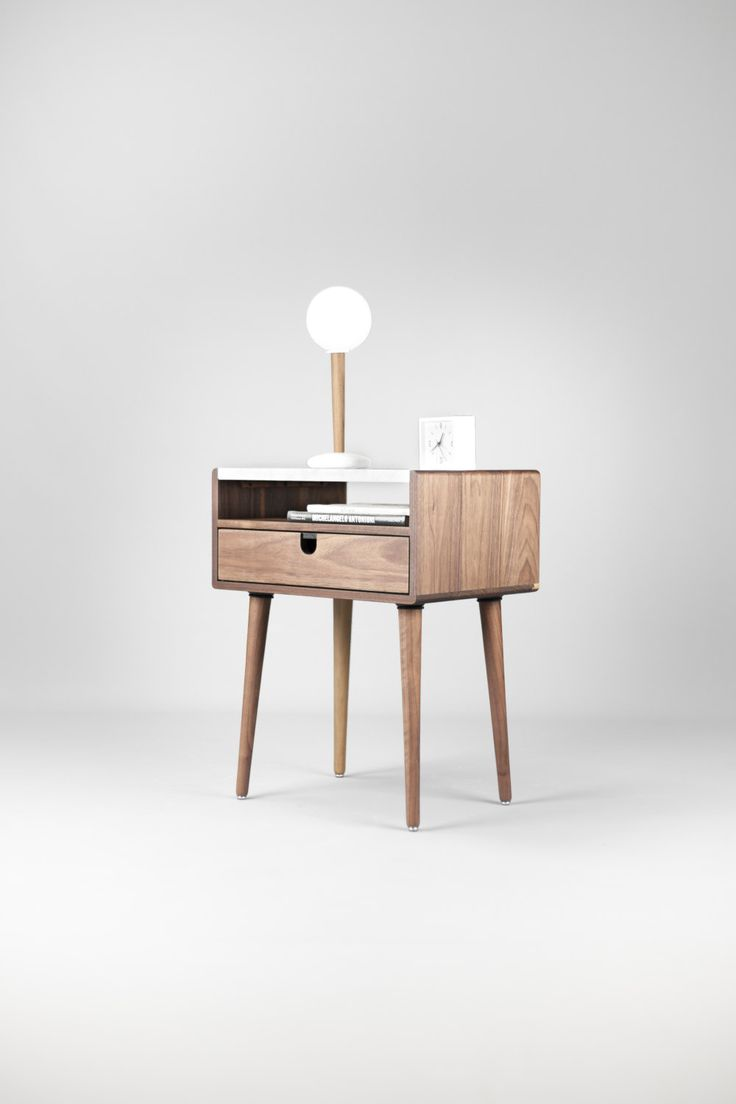 Best Mid Century Nightstand Bedside Table With Drawer In Walnut 400 x 300
