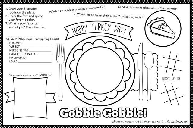 Kids Thanksgiving Placemat 12 Free Thanksgiving Printables