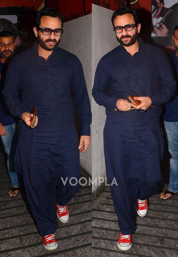 Nawabi style! Saif Ali Khan in a blue pathani...  via Voompla.com