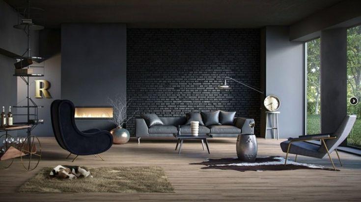 sofá de cuero negro en el salón moderno