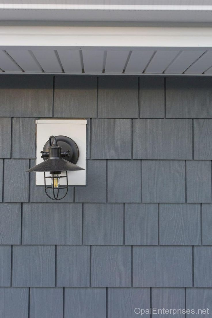 Light fixture for Kyle and Duplex. James Hardie fiber cement shingle siding