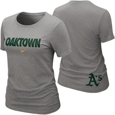 Nike Oakland Athletics Womens Oaktown Local T-Shirt - Ash