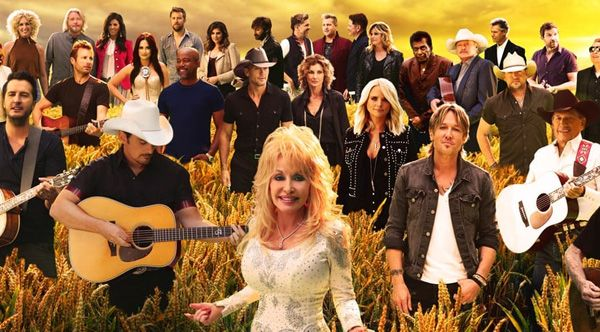 30 country music stars sing a mashup of 'Take Me Home, Country Roads', 'I Will Always Love You', and 'On The Road Again.'