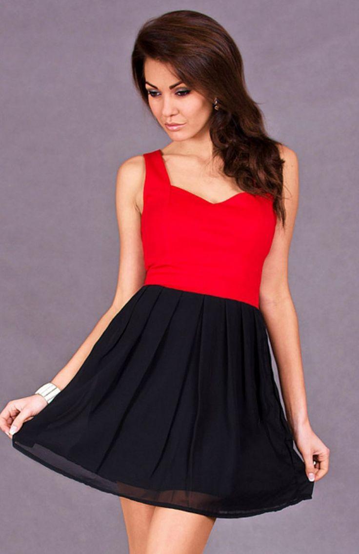 Emamoda Carli sukienka czerwona Rozkloszowana sukienka damska o prostym fasonie, idealna na każdą okazję