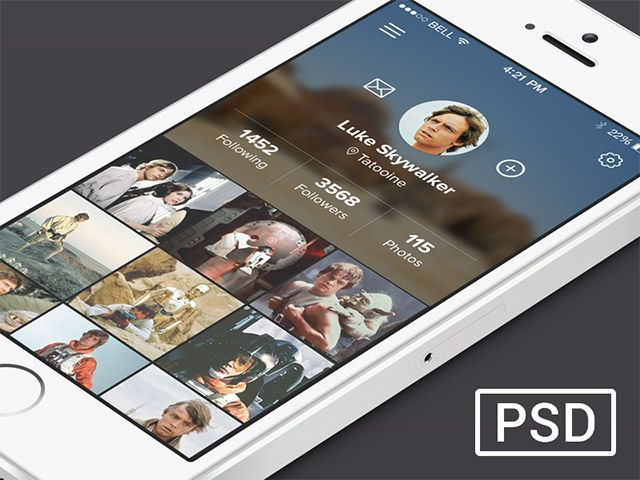 profile page concept for a mobile app. Free PSD designed and released by Alexander