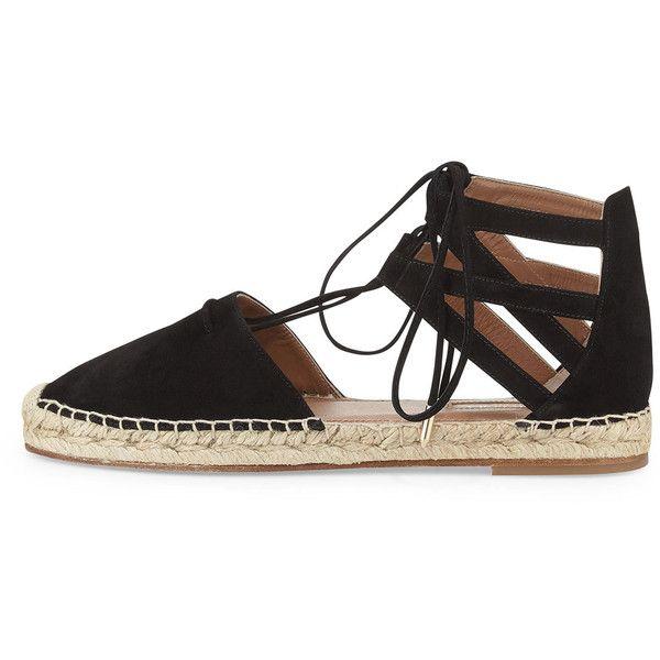 Aquazzura Belgravia Suede Closed-Toe Espadrille Sandal (715 CAD) ❤ liked on Polyvore featuring shoes, sandals, women shoes, closed toe sandals, lace up espadrilles, chanel espadrilles and woven sandals