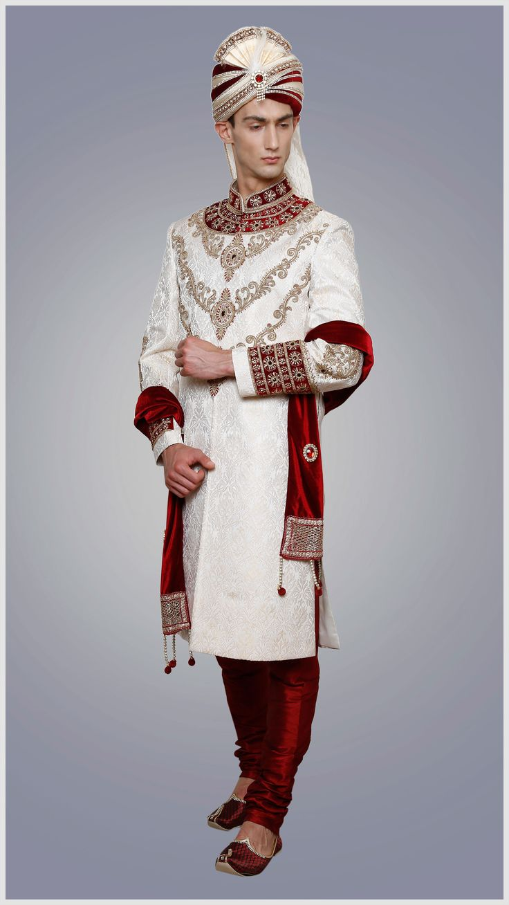 Designer Men Sherwani Embroidered in Maroon & Off White