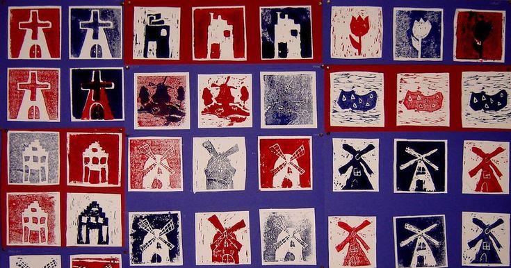 Door leerlingen van groep 8 Benodigdheden: twee stukjes linoleum van 12 bij 12 cm wit tekenpapier op A4 formaat potlood gutsjes drukpers blo...