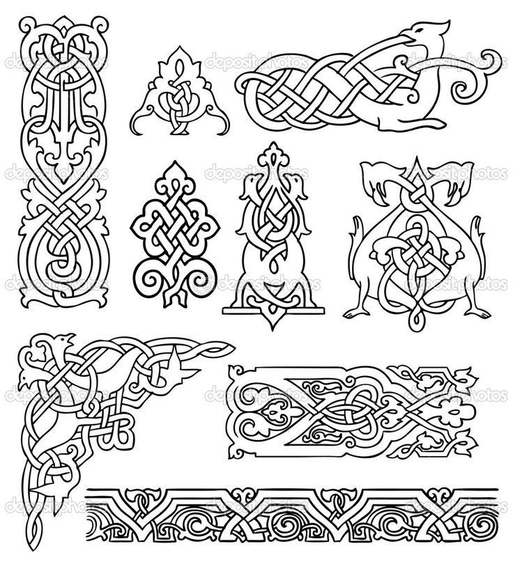 Антикварные старинные русские орнаменты Векторный набор - Стоковая иллюстрация: 11806395