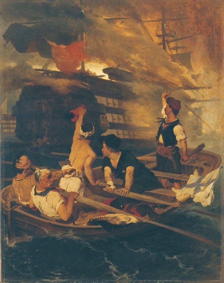 Νικηφόρος Λύτρας, Η πυρπόληση της τουρκικής ναυαρχίδας από τον Κανάρη (π. 1866-1870). Λάδι σε μουσαμά, 143 εκ. x 109 εκ. Πινακοθήκη Αβέρωφ, Μέτσοβο.
