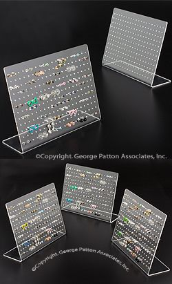 Jewelry Display for Tabletop Use Holds Up to 120 Pairs of Earrings, Works Best with Studs, Slant Back Design, Clear Acrylic