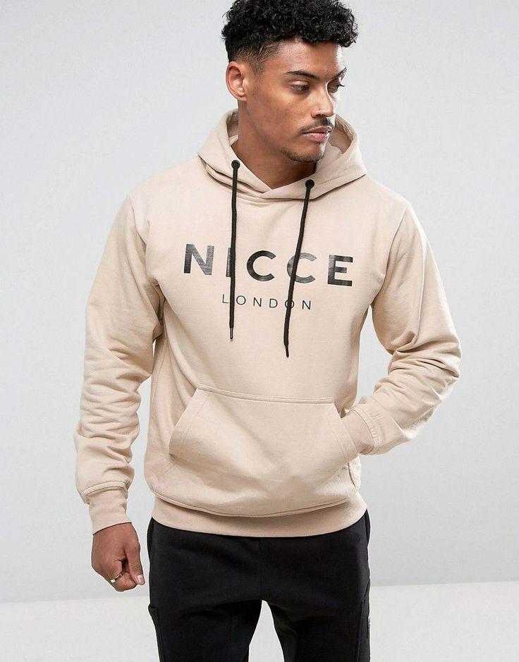 Nicce London Hoodie In Beige With Large Logo - Beige