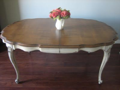 European Paint Finishes: French Provincial Dining Set ~    finish table like this