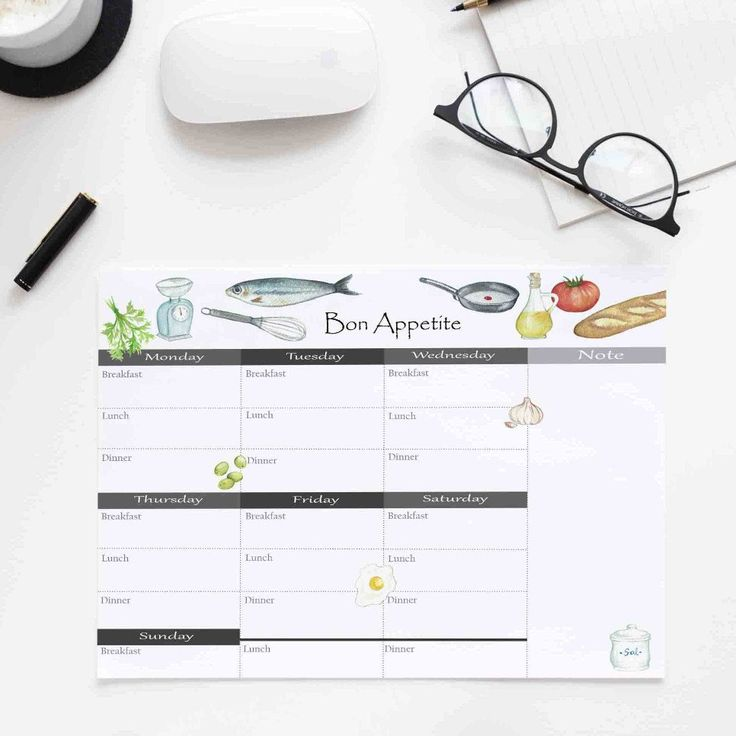 Meal planner, immediate download. Hand painted with watercolor.