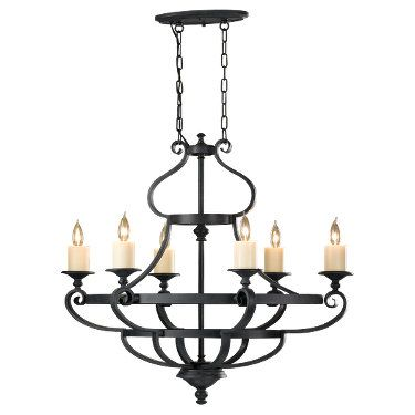 Feiss King's Table Collection F2517/6AF,6 - Light Single Tier Chandelier,Antique Forged Iron