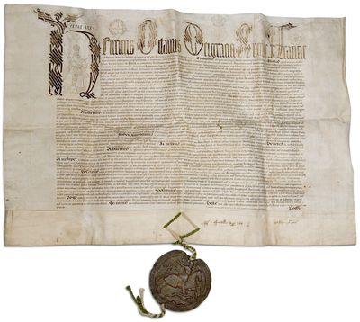 Letters patent of 4 july 1543 signed by henry viii giving for Tudor signatures
