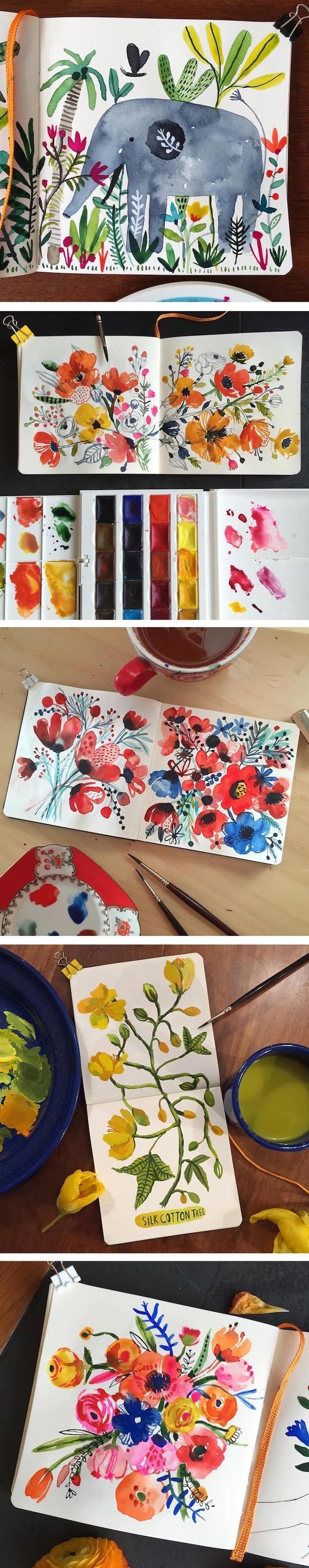 Illustrator Carolyn Gavin creates vibrant sketchbook paintings of animals and beautiful blooms, crafted with the carefree fluidity of watercolor.