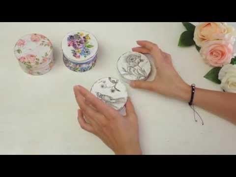 Мастер-класс: Декупаж шкатулки, эффект состаривания (Decoupage) - YouTube