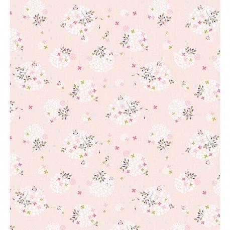 Papier peint enfant fleurs rose lilipinso papier peint - Papier peint fille chambre ...