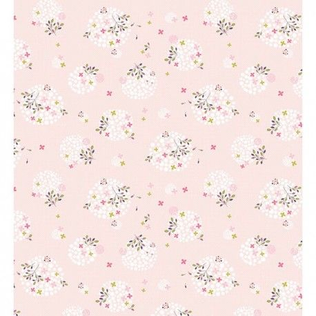 Papier peint enfant Fleurs rose - Lilipinso