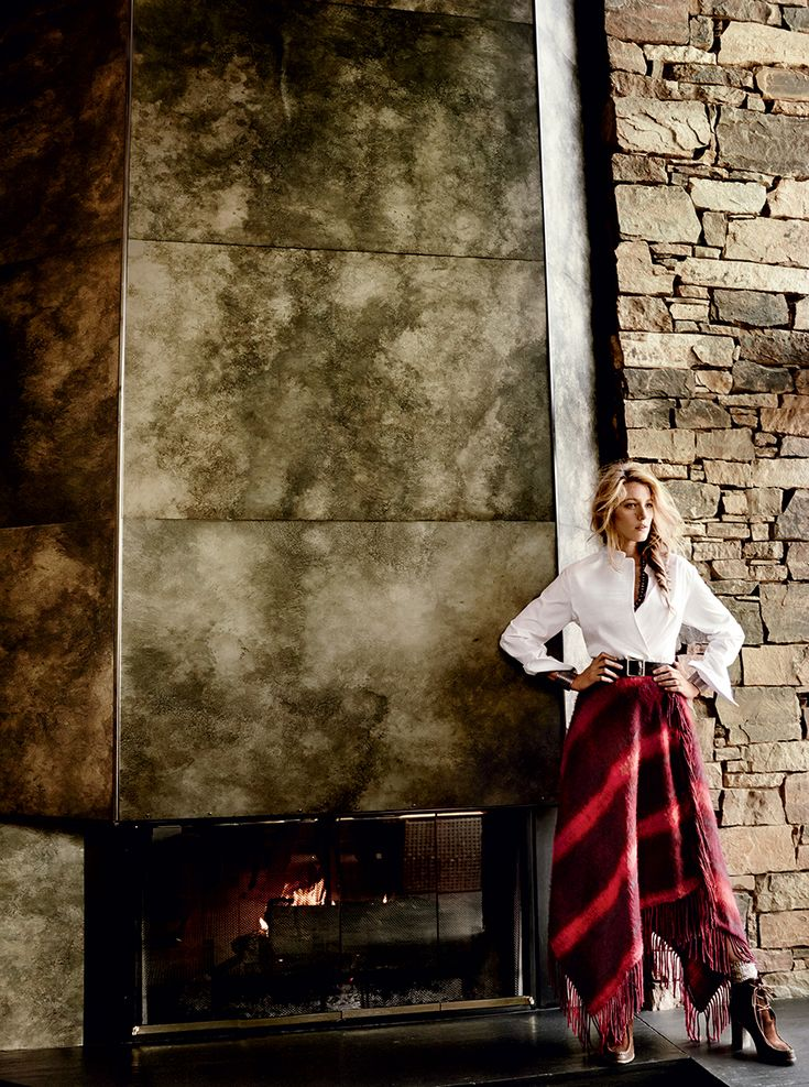 """""""She's sharing another side of herself,"""" says Ivanka Trump. 3.1 Phillip Lim white cotton shirt. Hilfiger Collection red mohair blanket skirt. Vicki Turbeville necklace and bracelets. Polo Ralph Lauren belt."""