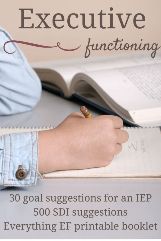 Here are 30 goal suggestions to add Executive Functioning into your child's IEP. Also includes a free printable EF booklet and over 500 SDIs.